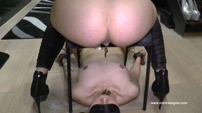 Mistress Gaia initiates slave cruelly